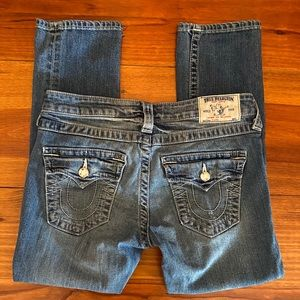 True Religion 'Capri' Jeans Sz 27 'Bling' Accent